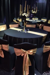Black Chair Cover & Gold Bow