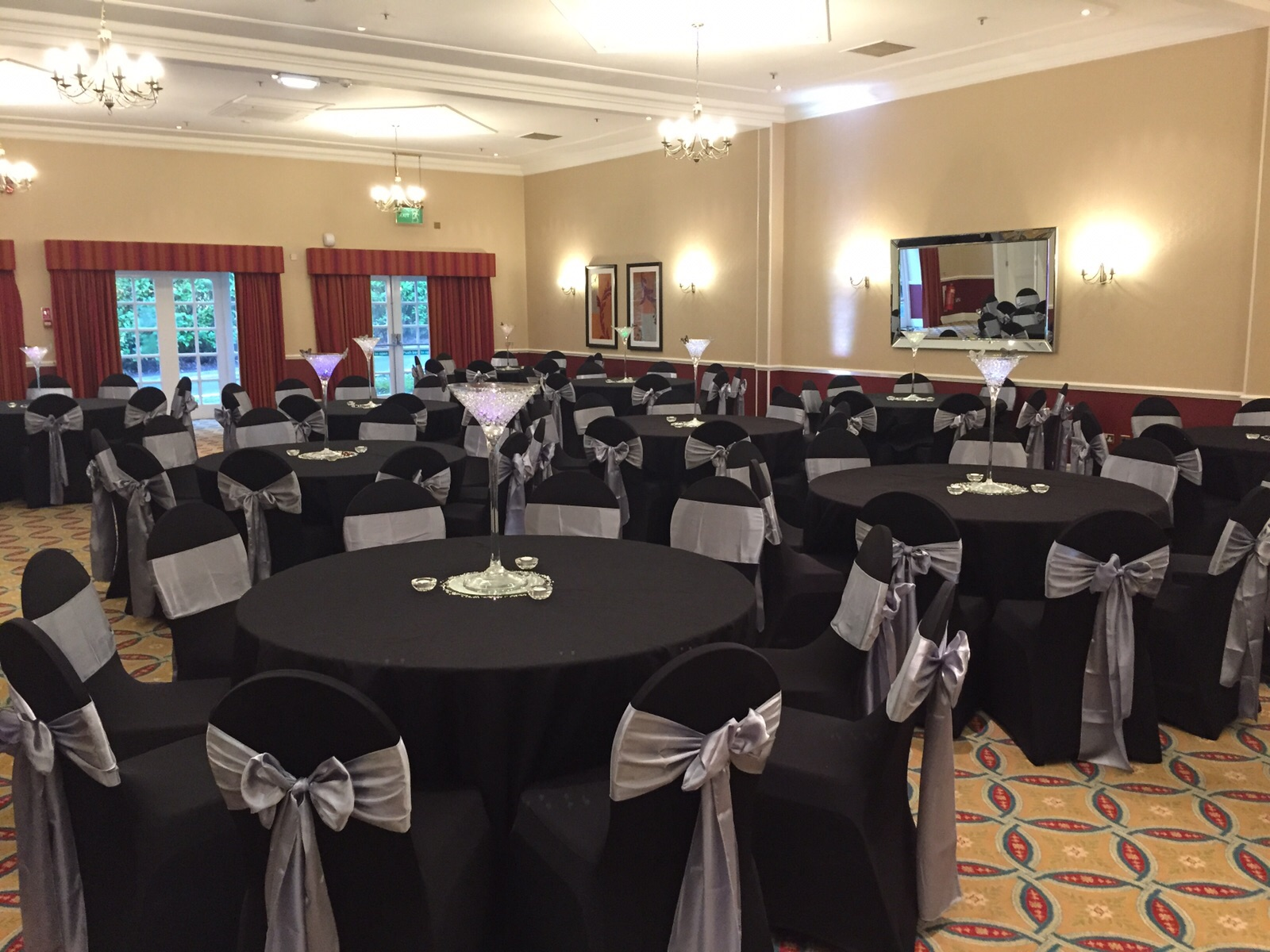 Black lycra chair cover hire Mottram Hall Cheshire SJ Enterprises