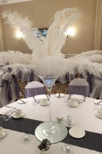 Martini Glass with White Ostrich Feathers Table Centre Piece